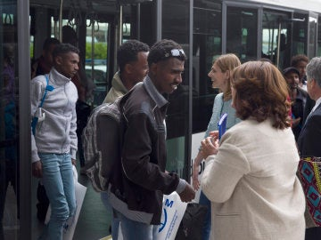 Refugiados procedentes de Italia, a su llegada a España