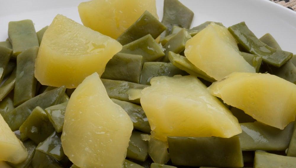 Judías verdes con patatas y mahonesa de ajo y pimentón