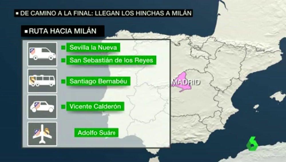 Frame 101.889711 de: Unos 60.000 aficionados de Real Madrid y Atlético viajan a Milán por la final de la Champions