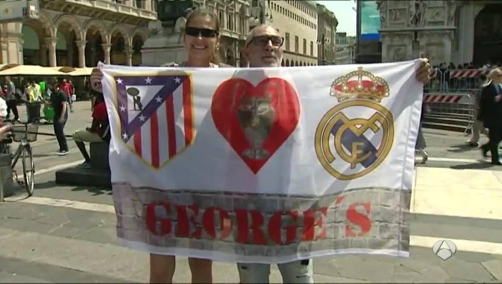 Aficionados de Madrid y Atlético en Milán