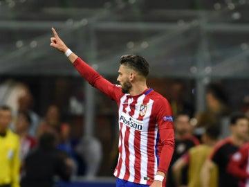 Carrasco, en un partido con el Atlético