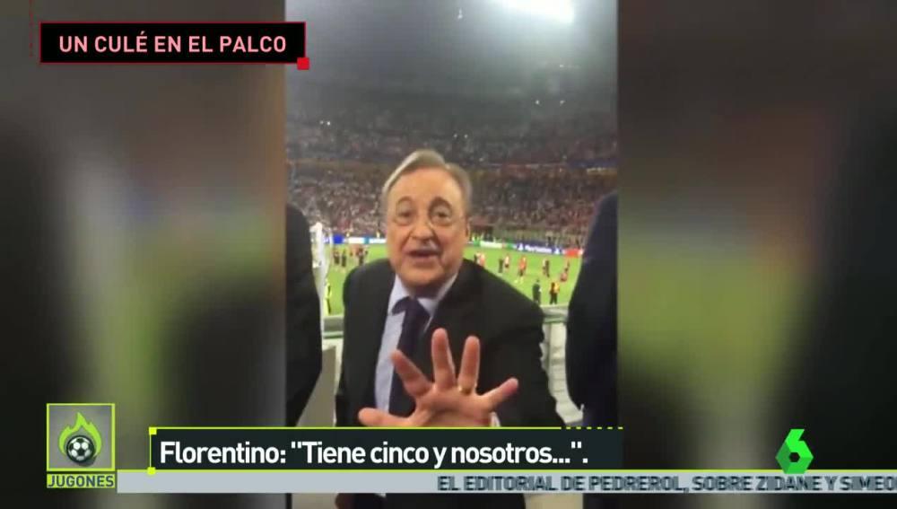 Florentino Pérez se encara con un aficionado en San Siro