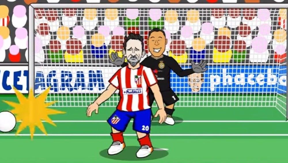 Parodia del penalti de Juanfran ante Keylor Navas