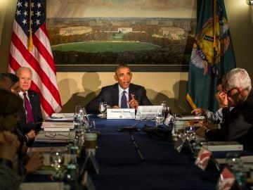 Barack Obama, durante la reunión con el Consejo de Seguridad Nacional