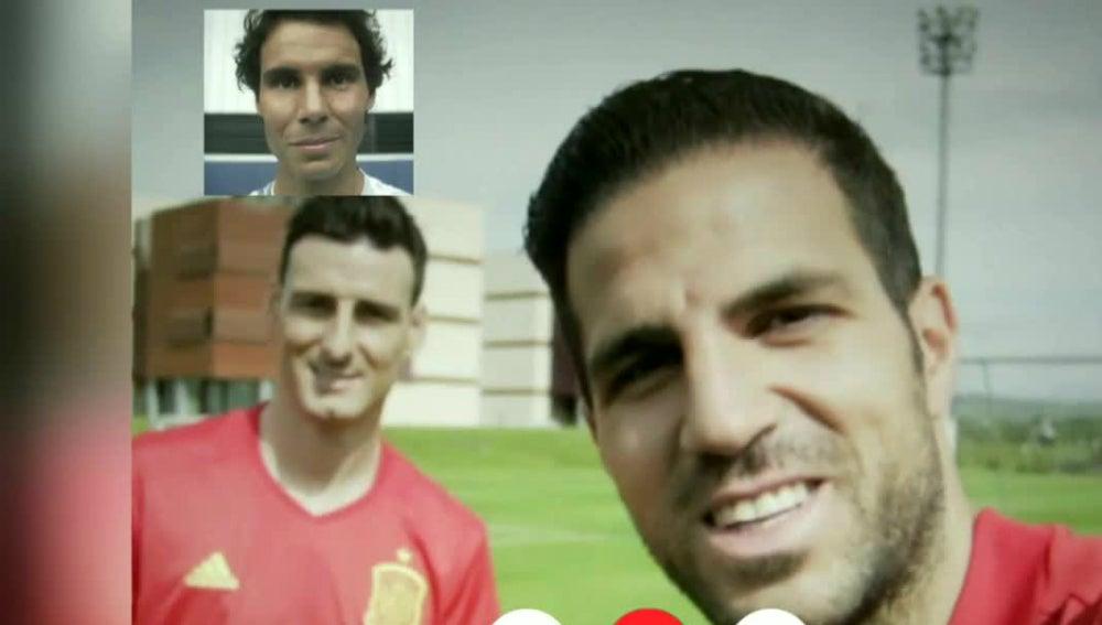 Los jugadores de la Selección, con Nadal