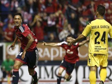 Maikel Mesa celebra el segundo gol ante el Girona