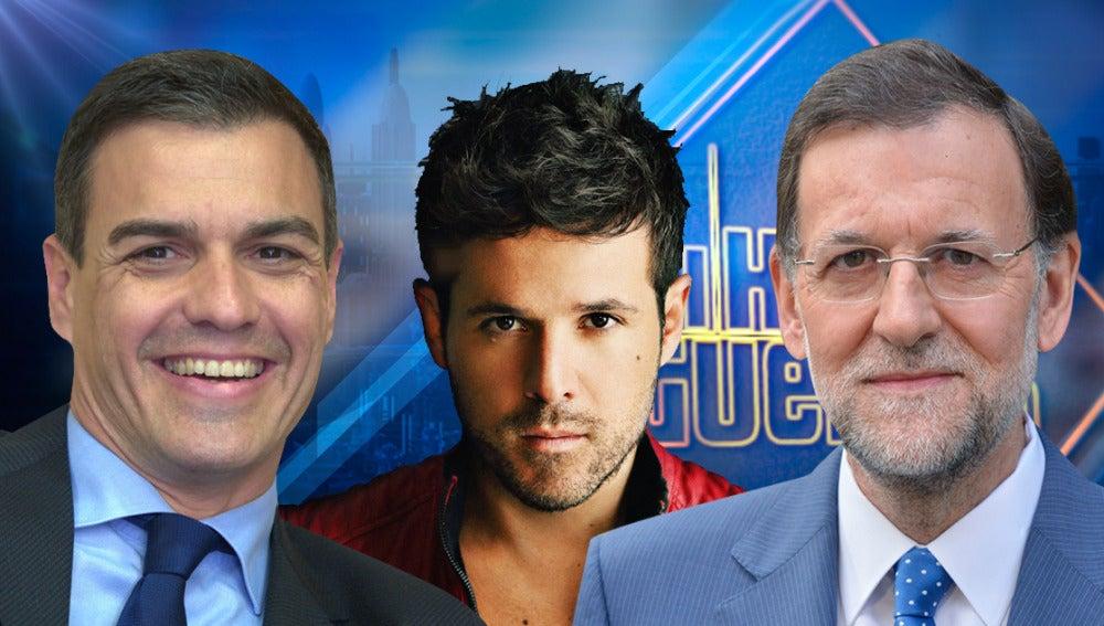 Pedro Sánchez, Mariano Rajoy y Pablo López en 'El Hormiguero 3.0'