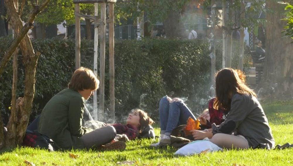 Un grupo de chicos fumando en el parque