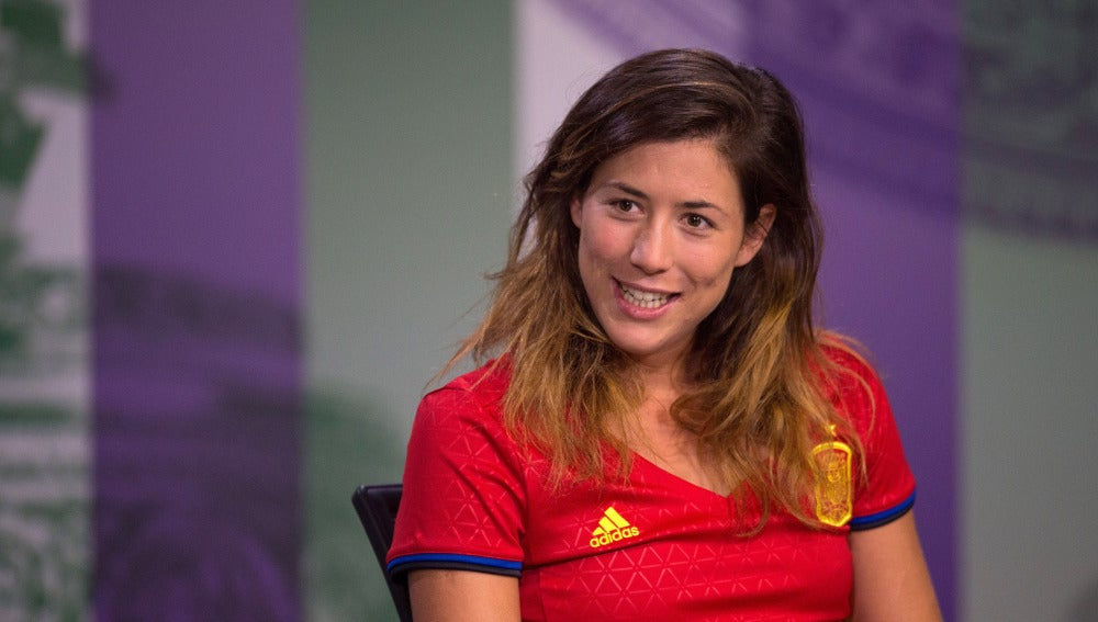 Garbiñe Muguruza, en la sala de prensa de Wimbledon