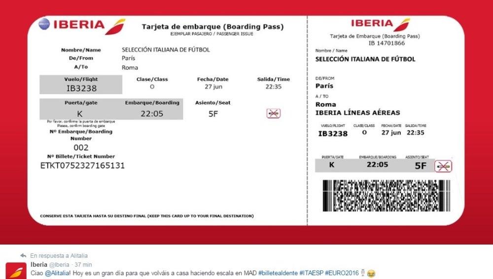 Mensaje de Iberia a Alitalia en Twitter