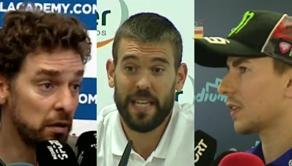 Pau Gasol, Marc Gasol y Jorge Lorenzo