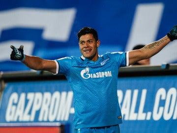 Hulk celebra un gol con el Zenit de San Petersburgo