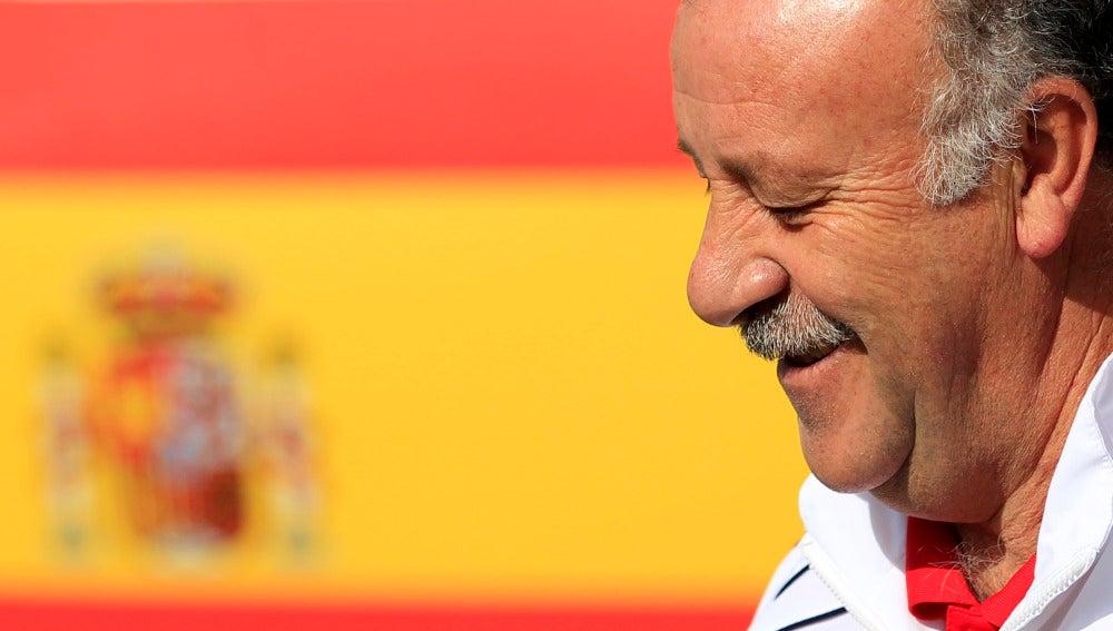 Vicente del Bosque, sonriente durante el Mundial
