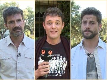 Rodolfo Sancho, Federico Aguado y Luis Fernández en el rodaje de 'Mar de plástico'