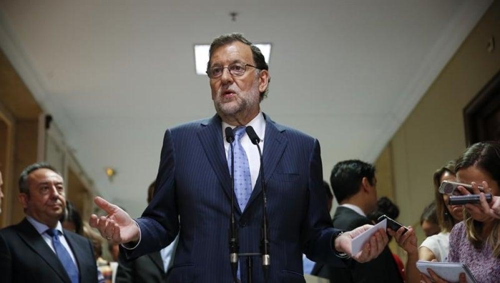 Mariano Rajoy, en declaraciones a los periodistas en el Congreso