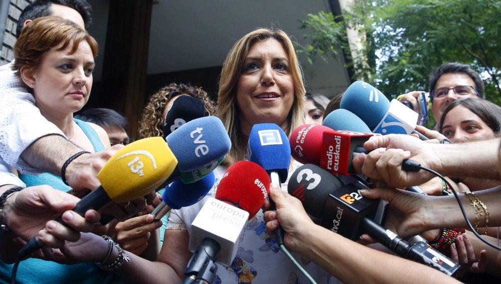 Susana Díaz, antes de reunirse con Pedro Sánchez