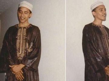 Un joven Barack Obama con el atuendo musulmán.