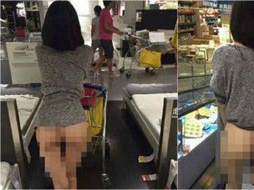 Una mujer compra desnuda en Ikea