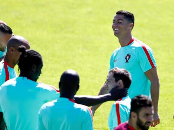 Cristiano Ronaldo, en el entrenamiento de Portugal