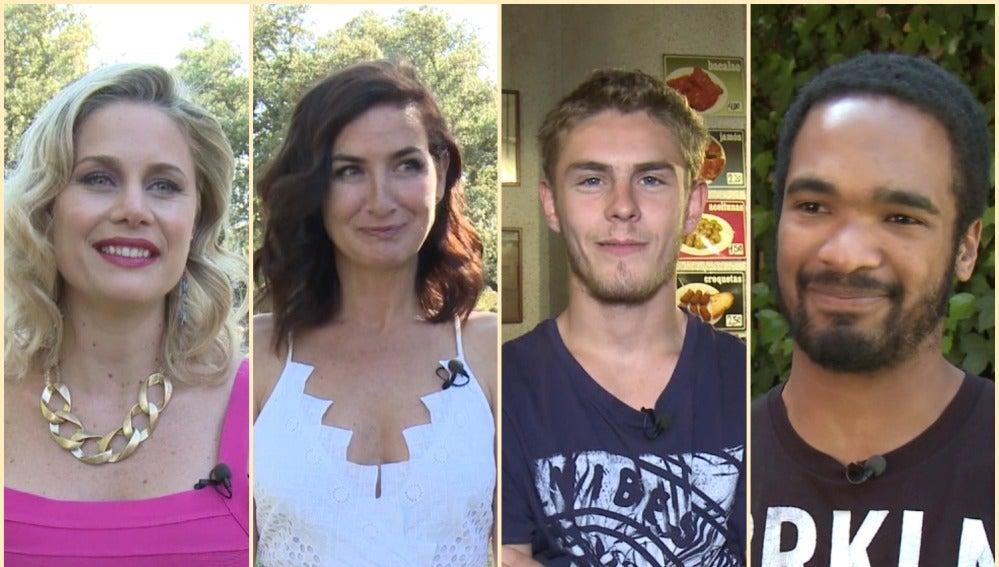 Lisi Linder, Belén López, Patrick Criado y Will Shephard en el rodaje de 'Mar de plástico'