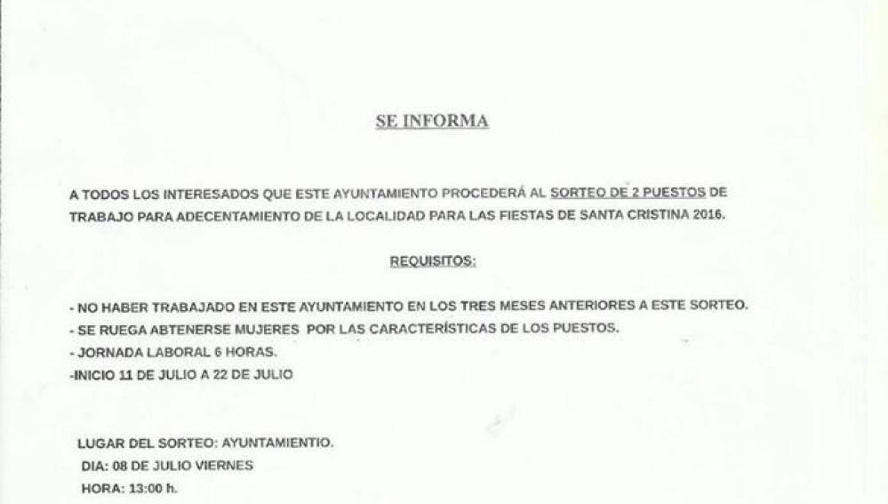 l municipio de Cristina sortea dos puestos de trabajo sólo para hombres