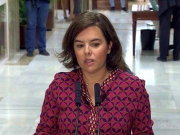 """Frame 2.328871 de: Soraya Sáenz de Santamaría considera que es """"razonable"""" y """"realista"""" que la investidura se inicie el 2 de agosto"""