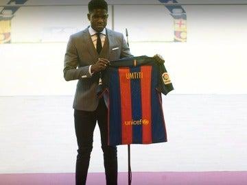 Umtiti, presentado como jugador del Barça