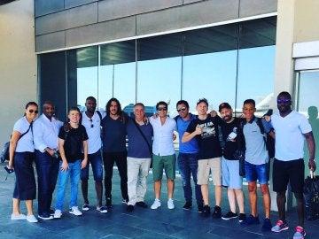 Puyol, Deco y Abidal, en su regreso a Barcelona