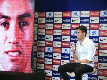 Nico Gaitán, durante su presentación en el Atlético de Madrid