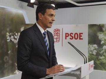 Pedro Sánchez, durante una declaración institucional
