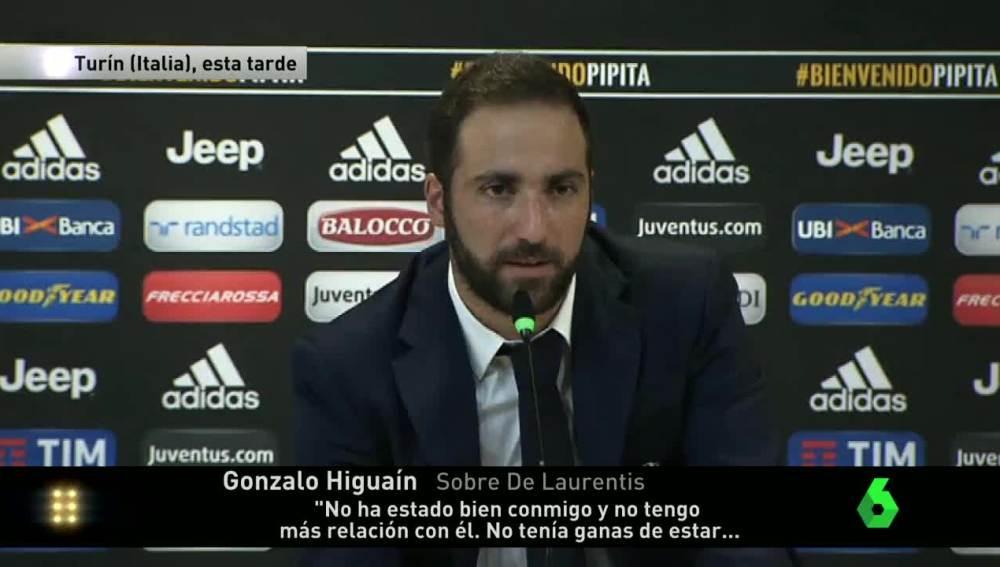 Higuaín en su rueda de prensa como jugador de la Juventus