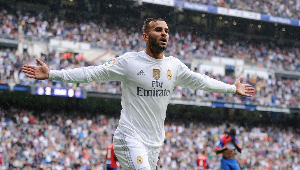 Jesé celebra un gol con el Real Madrid