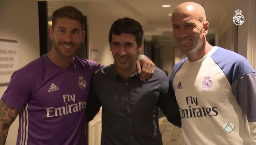 Raúl junto a Ramos y Zidane en Nueva York