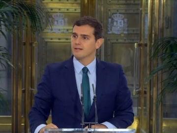Albert Rivera, en la rueda de prensa tras reunirse con Mariano Rajoy