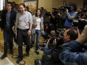 Laportavoz adjunta de Unidos Podemos-En Comú-En Marea y jefa de gabinete de Pablo Iglesias, Irene Montero.