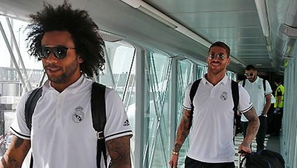 Marcelo y Ramos,a  su llegada a Barajas