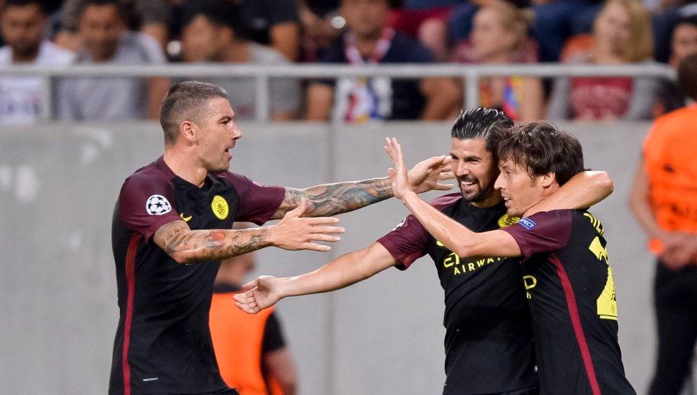 Nolito celebra su gol ante el Steaua