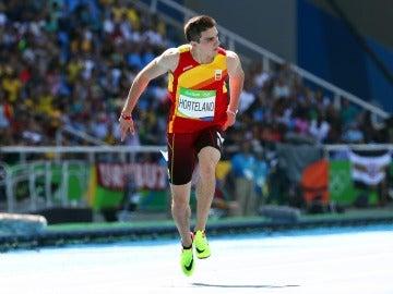 Bruno Hortelano, durante su serie de los 200 metros lisos