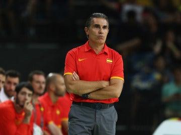 Scariolo, en un partido de la selección española en Río 2016