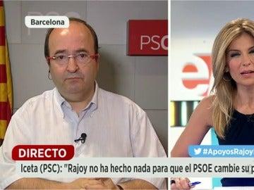 """Frame 194.723211 de: El primer secretario del Partit dels Socialistes de Catalunya, Miguel Iceta """"habrá que examinar otras alternativas con candidatos de otros partidos"""""""