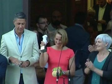 Mireia Belmonte, con la 'venus de Badalona'
