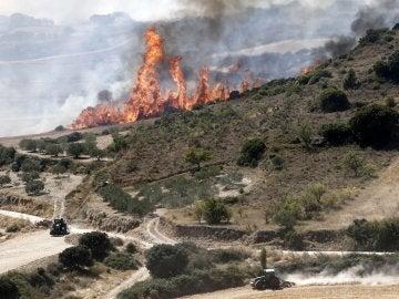 Llamas del incendio declarado en las inmediaciones de la localidad navarra de Tafalla, que afecta ya a una superficie de más de 2.000 hectáreas y cuyo origen pudo estar en una colilla arrojada desde un vehículo en la AP-15