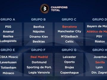 Así queda el sorteo de la fase de grupos de la Champions Total
