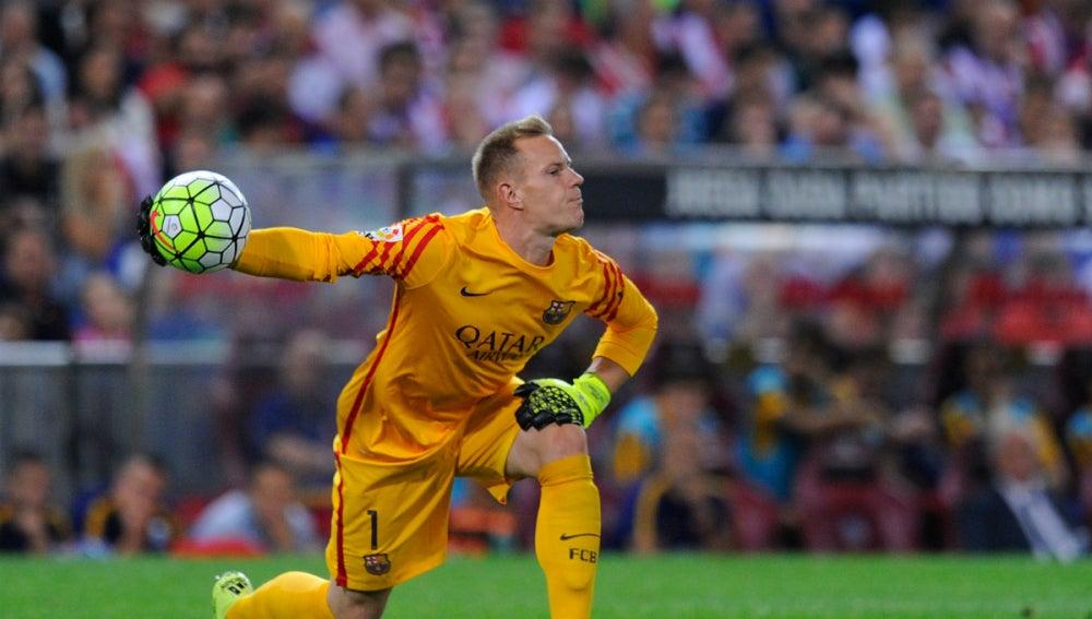 Ter Stegen, en un partido con el Barça