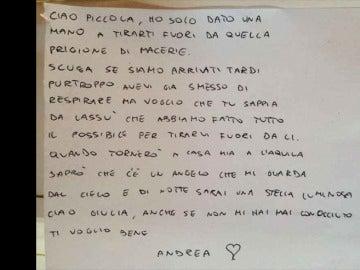 Carta de un bombero italiano para Giulia