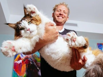 Jonathan Zurbel con su gato Sansón en Brooklyn