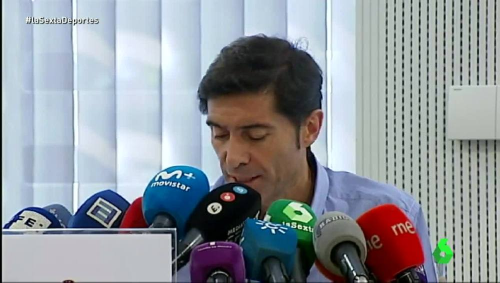 Marcelino, en rueda de prensa para defenderse de las acusaciones del partido ante el Sporting.