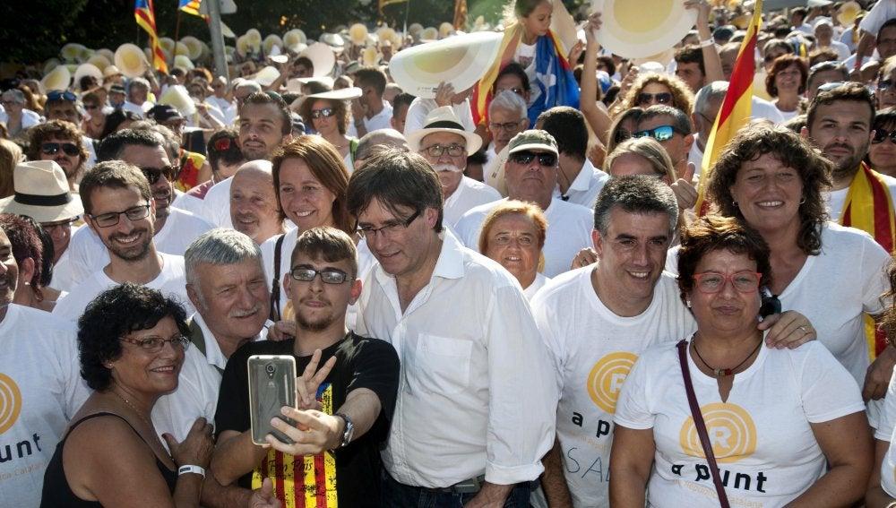Carles Puigdemont, en la marcha de la Diada