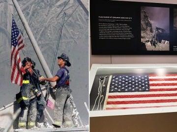 Los bomberos ondeando la bandera (izq)/La bandera expuesta en el museo (d)