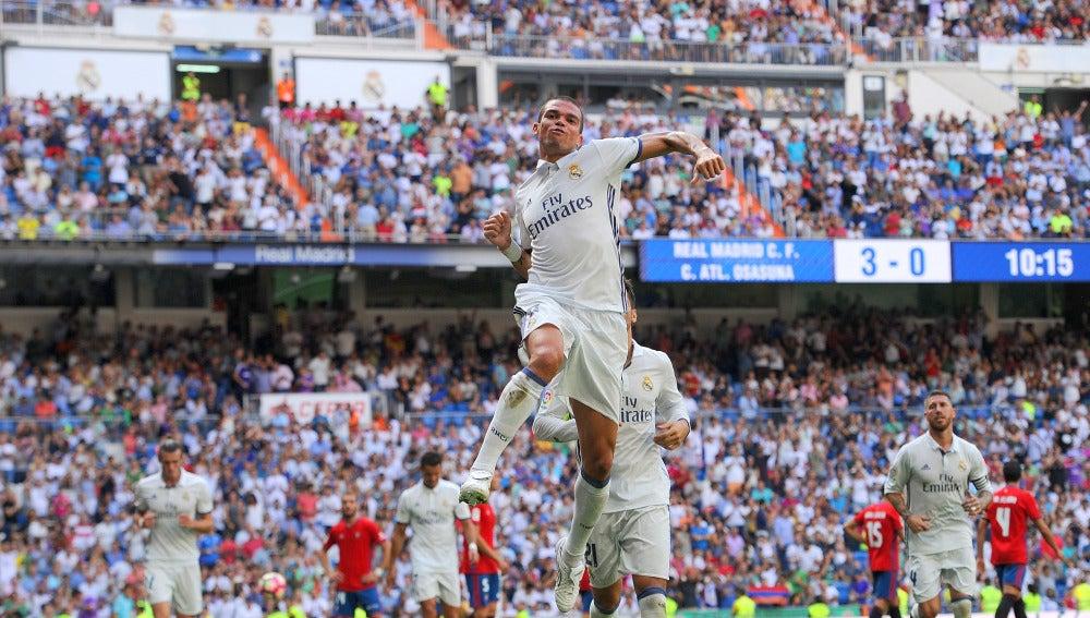Pepe celebra un gol ante Osasuna